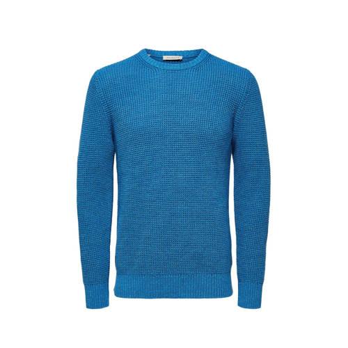 SELECTED HOMME trui van biologisch katoen blauw