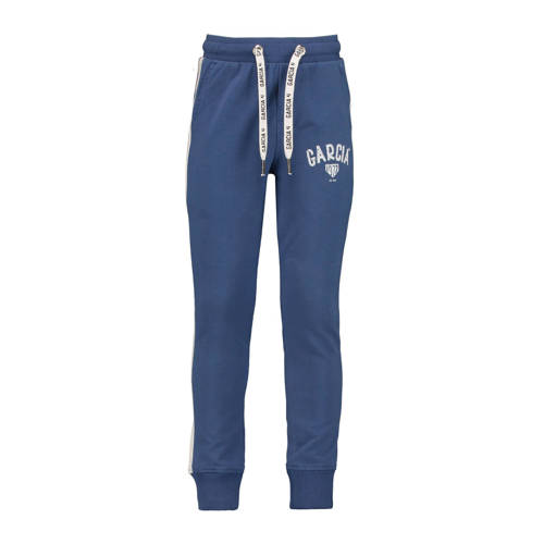 Garcia regular fit joggingbroek met zijstreep blau