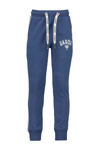 Garcia   regular fit joggingbroek met zijstreep blauw/wit, Blauw/wit