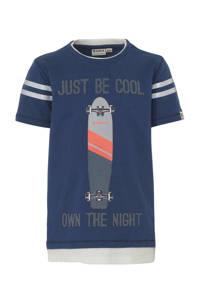 Garcia T-shirt met printopdruk blauw/wit, Blauw/wit
