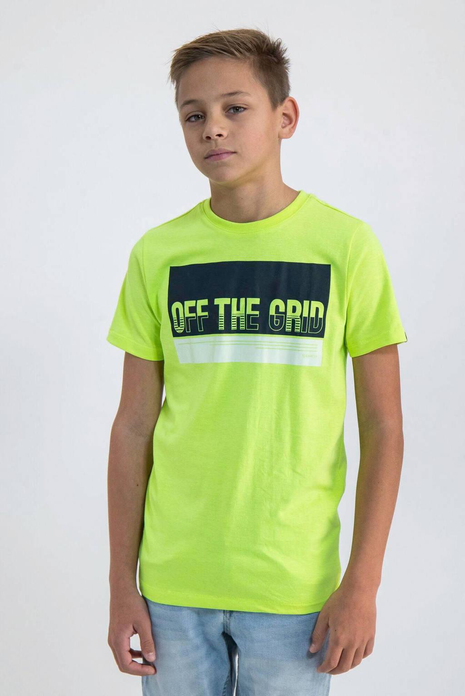 Garcia T-shirt met printopdruk neon geel/zwart/wit, Neon geel/zwart/wit