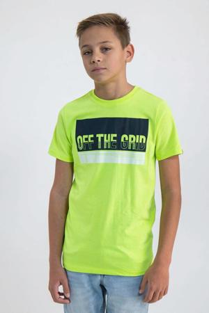 T-shirt met printopdruk neon geel/zwart/wit