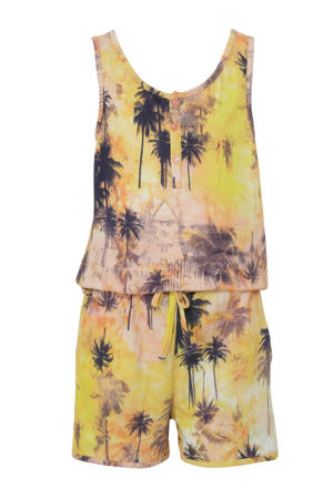 jumpsuit met all over print geel/paars