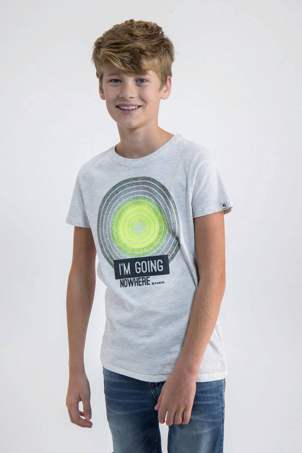 Garcia T-shirt met printopdruk lichtgrijs/neon geel/zwart, Lichtgrijs/neon geel/zwart