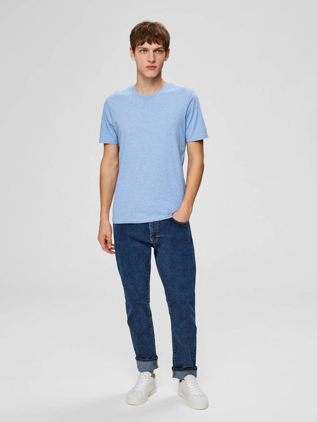 SELECTED HOMME T-shirt blauw, Blauw