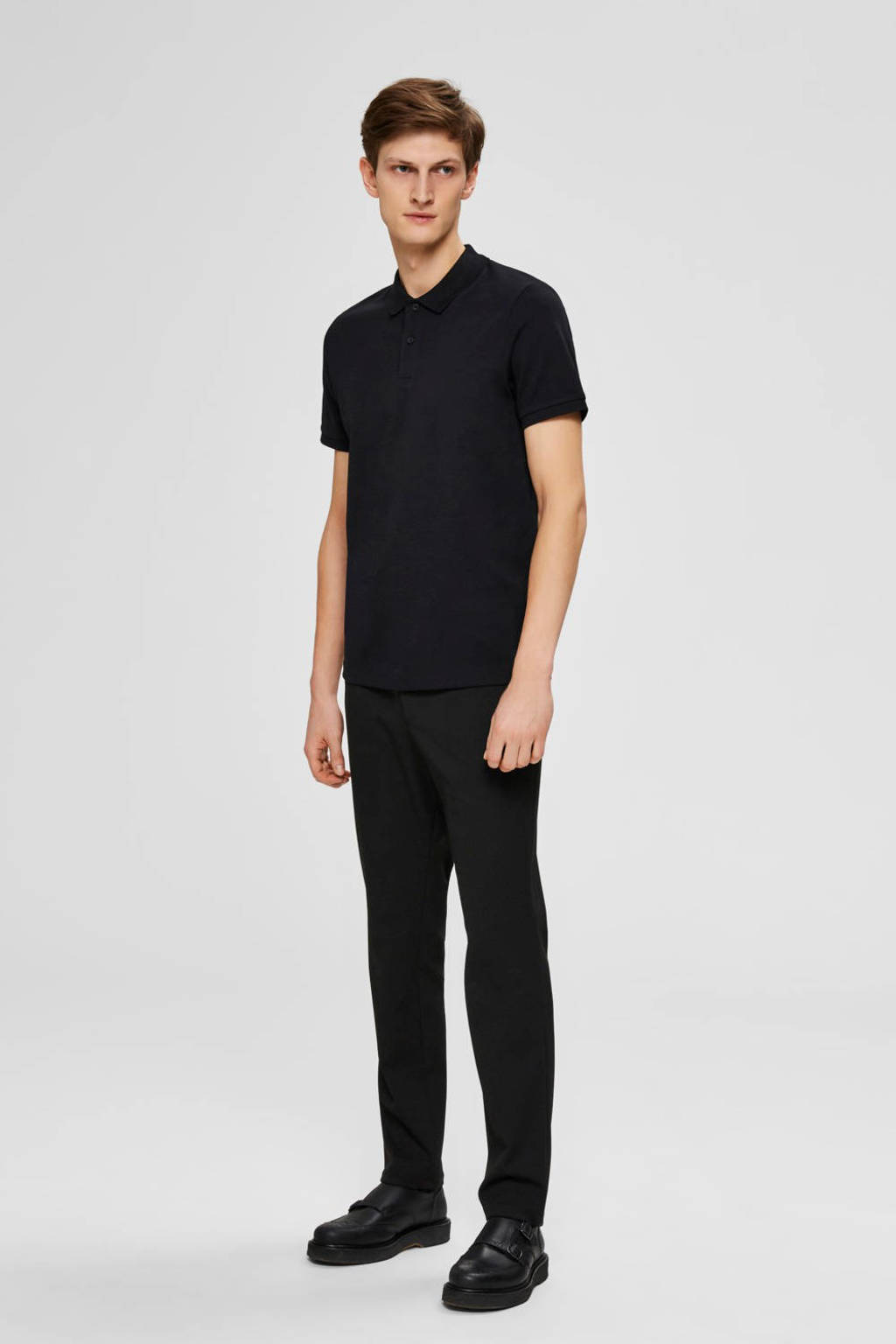 SELECTED HOMME slim fit polo zwart, Zwart