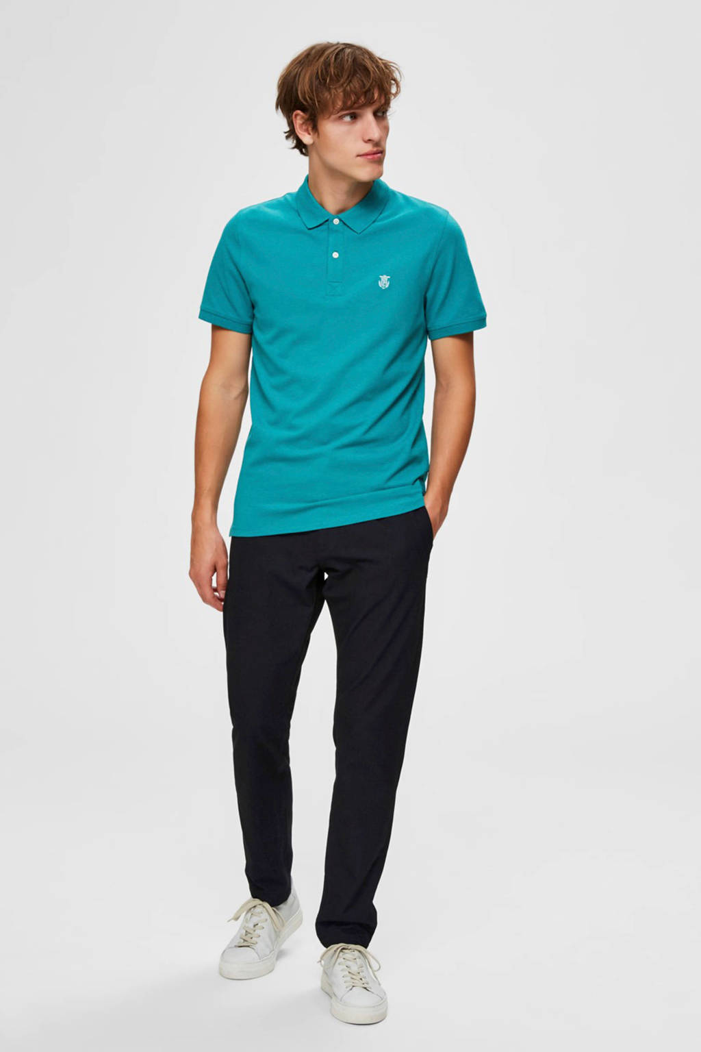 SELECTED HOMME slim fit polo met biologisch katoen turquoise, Turquoise