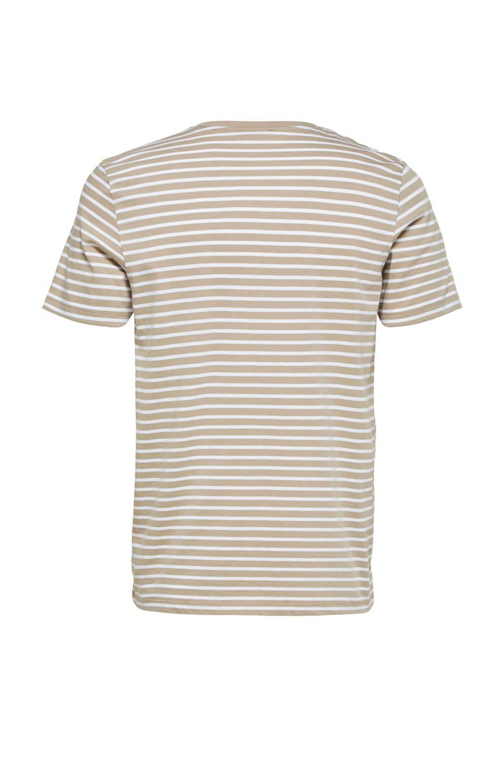 SELECTED HOMME gestreept T-shirt van biologisch katoen crockery, Crockery