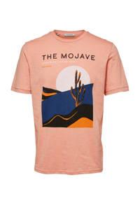 SELECTED HOMME T-shirt van biologisch katoen zalm, Zalm