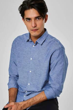 slim fit overhemd met biologisch katoen blauw