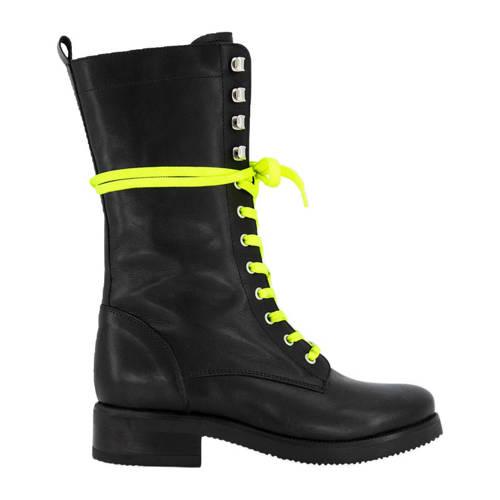 NIKKIE Fluo Lace Boots leren veterboots zwart/geel