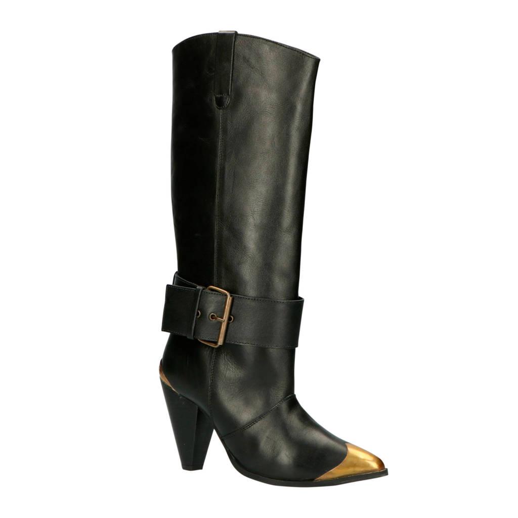 NIKKIE Diana Boots  leren cowboylaarzen zwart, Zwart/goud