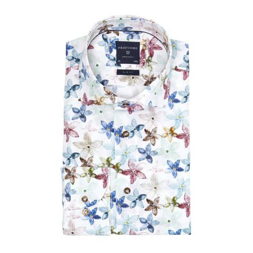 Profuomo gebloemd slim fit overhemd wit/blauw/roze