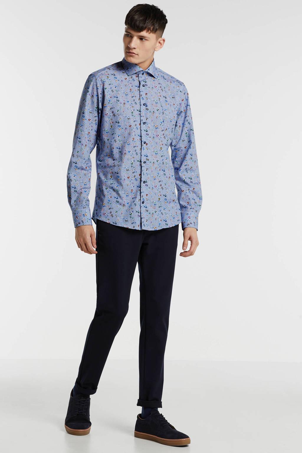 Profuomo gebloemd slim fit overhemd blauw/groen/roze/paars/geel, Blauw/groen/roze/paars/geel