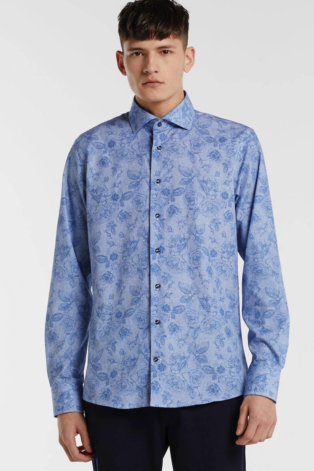 Profuomo gebloemd slim fit overhemd grijsblauw/blauw, Grijsblauw/blauw