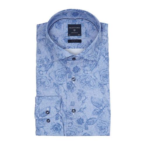 Profuomo gebloemd slim fit overhemd grijsblauw/bla