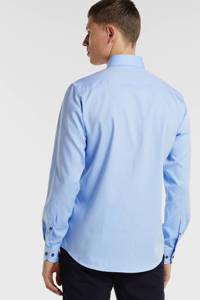 Profuomo gemêleerd slim fit overhemd blue