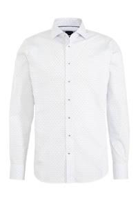 Profuomo slim fit overhemd Cutaway met all over print wit/blauw, Wit/blauw
