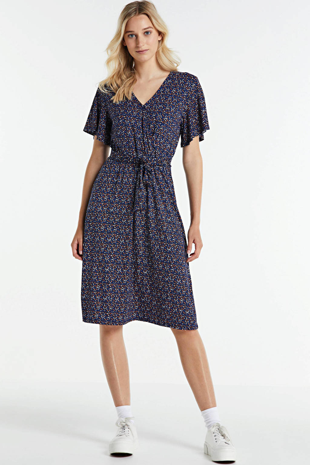 FREEQUENT jurk met all over print en ceintuur blauw/multi, Blauw/multi