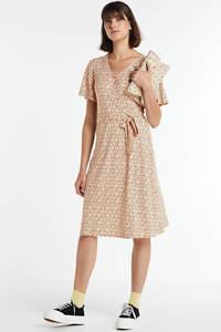FREEQUENT jurk met all over print en ceintuur lichtroze, Lichtroze