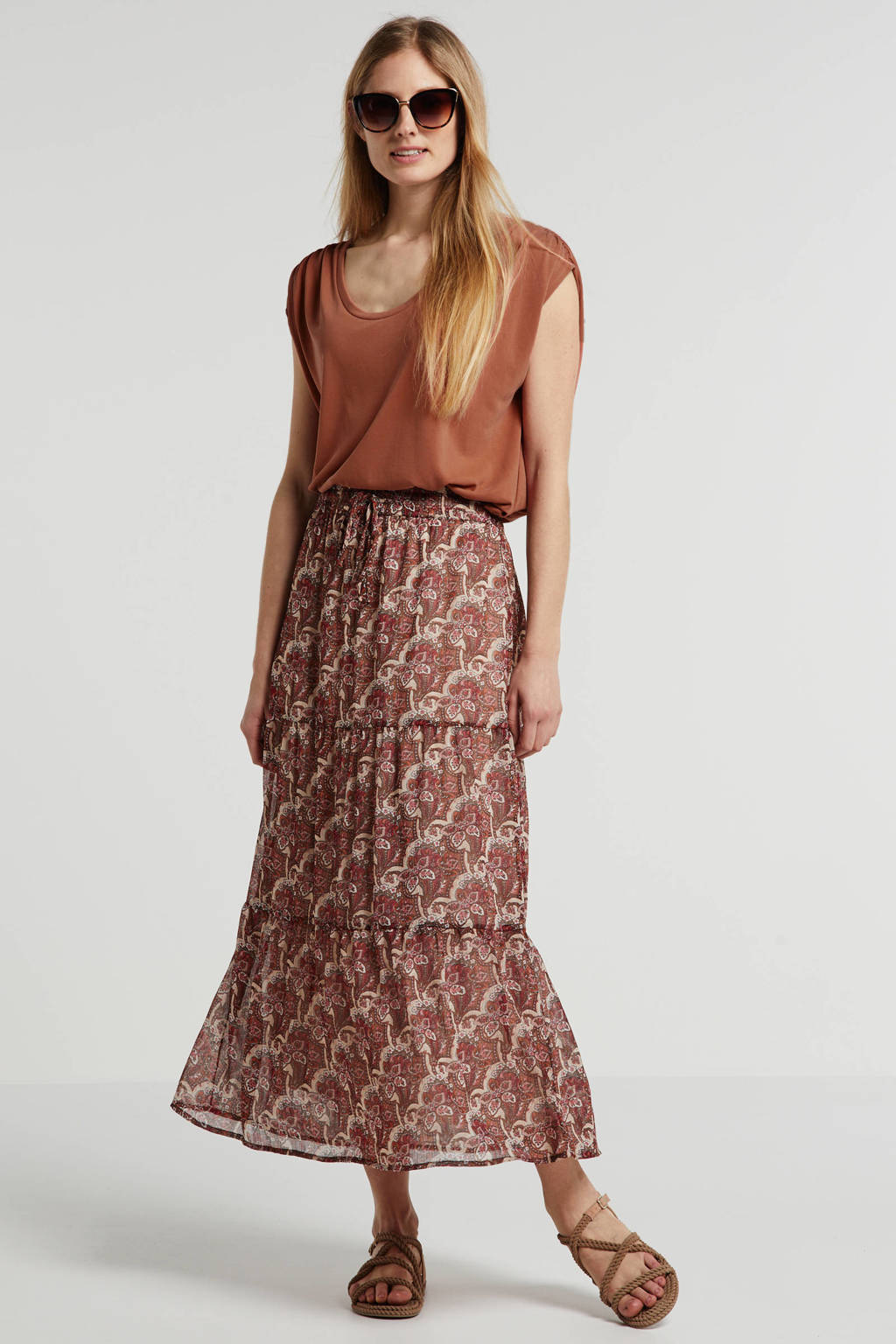 FREEQUENT rok met all over print rood, Rood