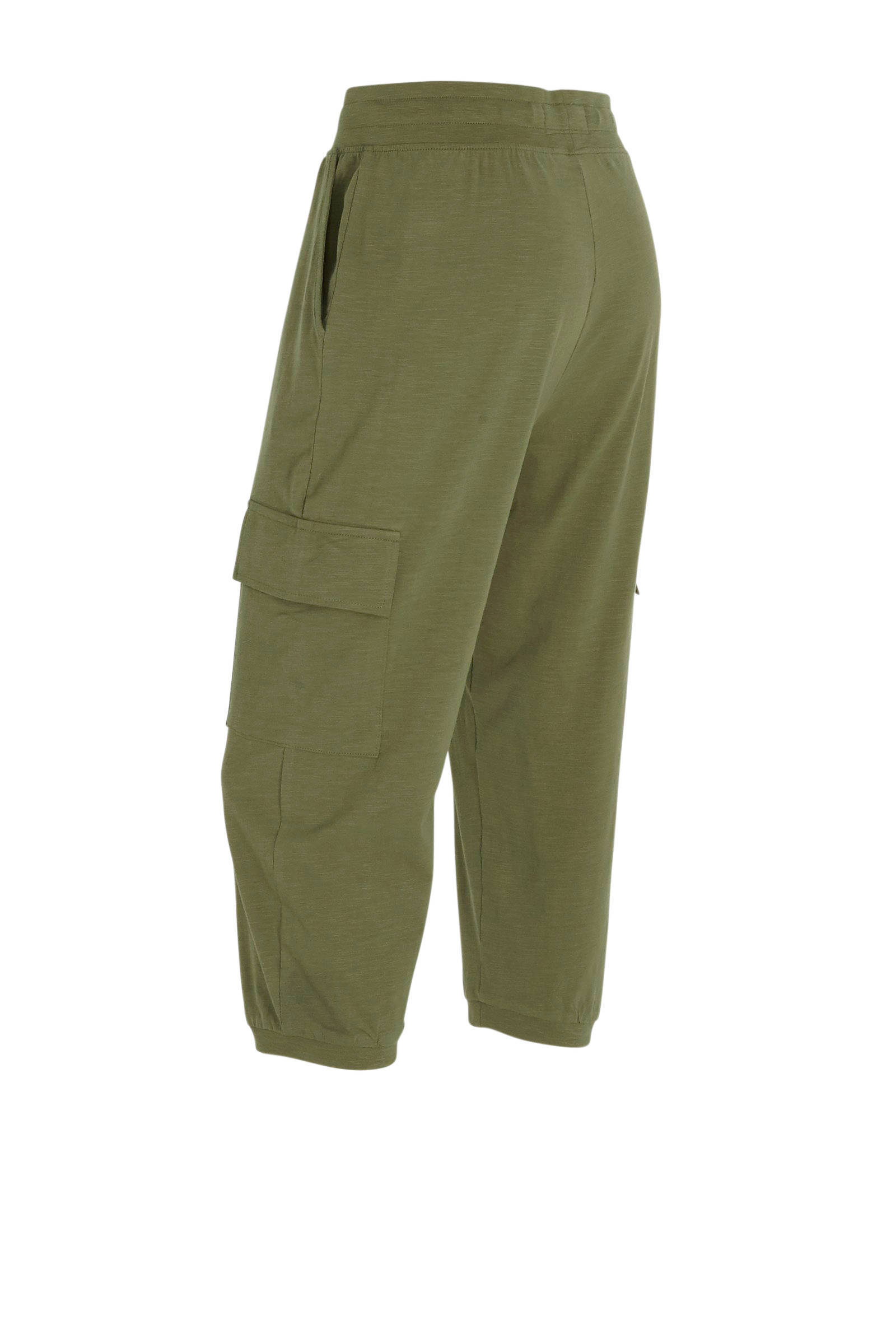 high waist regular fit cargo capri olijfgroen