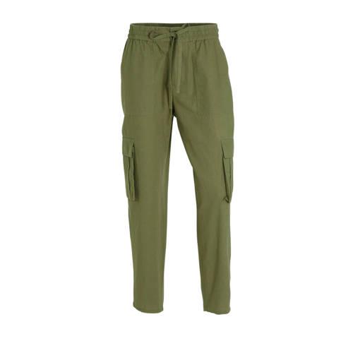 FREEQUENT high waist slim fit cargobroek met linne