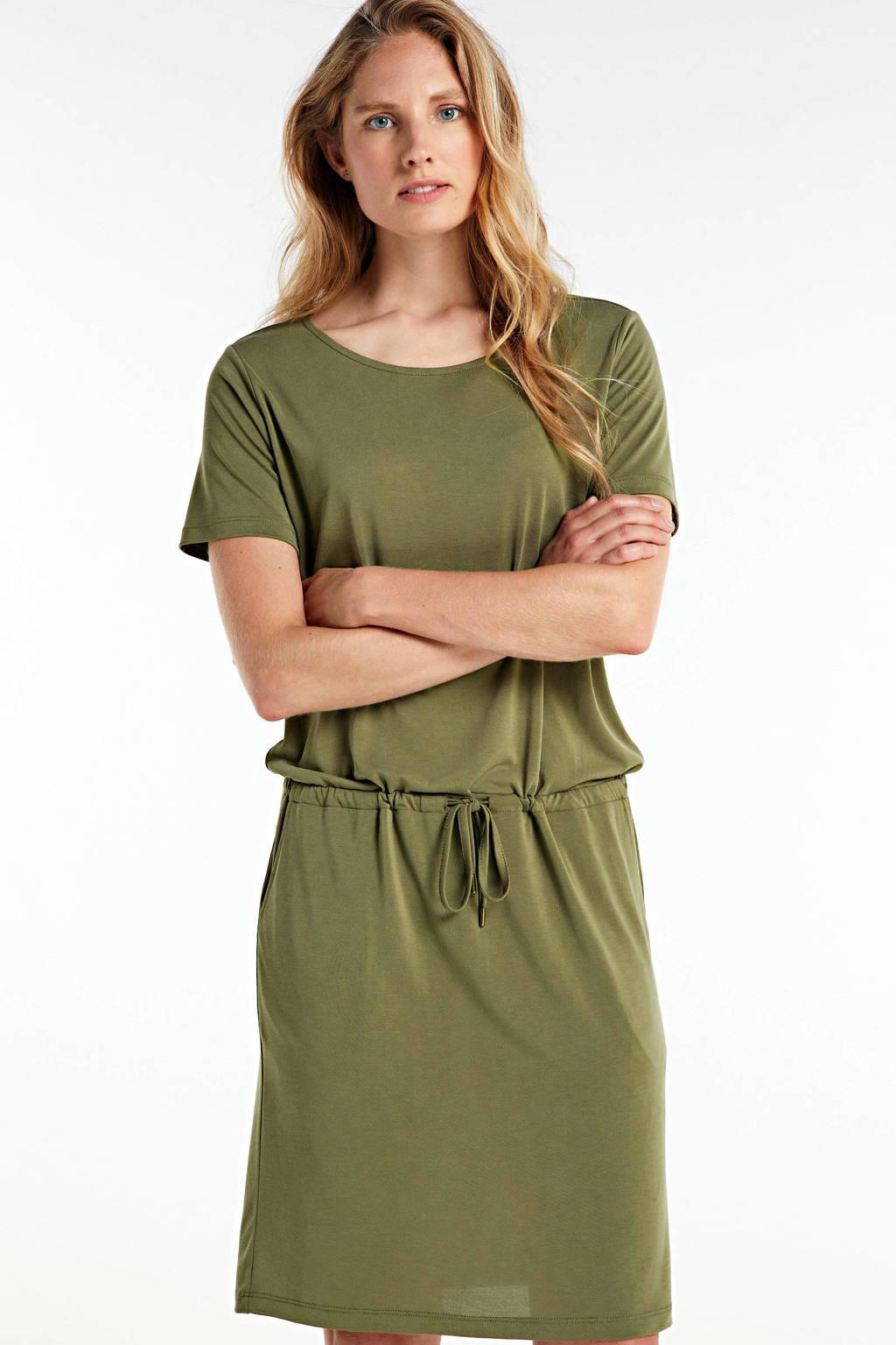 FREEQUENT jersey jurk met ceintuur olijfgroen, Olijfgroen