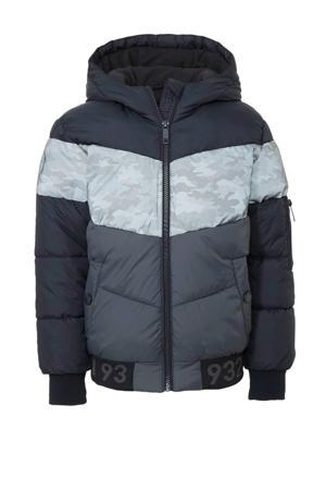 Here & There winterjas met camouflageprint zwart/grijs