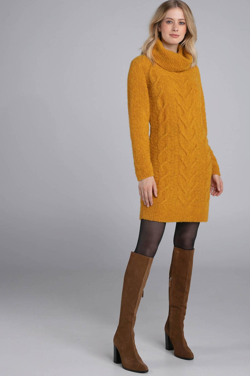 Claudia Sträter jurk met kabel van wol en alpaca okergeel, Oker