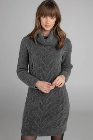 jurk met kabel van wol en alpaca antraciet
