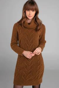 Claudia Sträter jurk met kabel van wol en alpaca okergeel bruin, Bruin