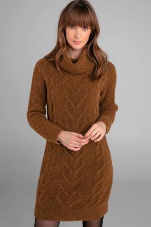 jurk met kabel van wol en alpaca okergeel bruin