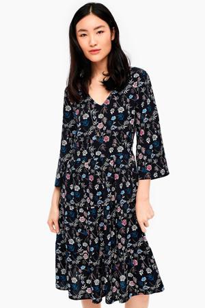 gebloemde jurk zwart/blauw