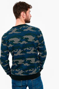 Q/S designed by sweater met camouflageprint blauw, Blauw