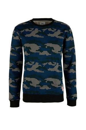 sweater met camouflageprint blauw