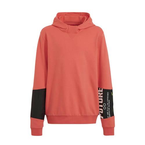 s.Oliver hoodie met tekst oranje/zwart/wit