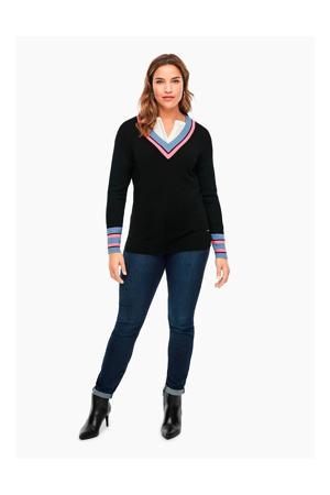 trui met contrastbies zwart/blauw/roze