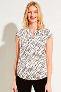 comma top met all over print beige/zwart, Beige/zwart