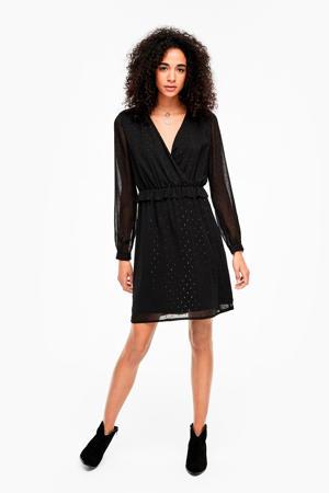semi-transparante jurk met stippen en volant zwart