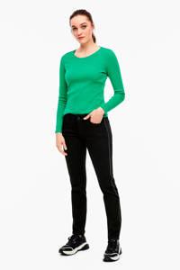 s.Oliver skinny jeans met zijstreep zwart, Zwart