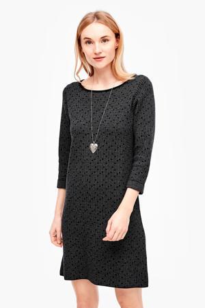 jurk met pied-de-poule zwart
