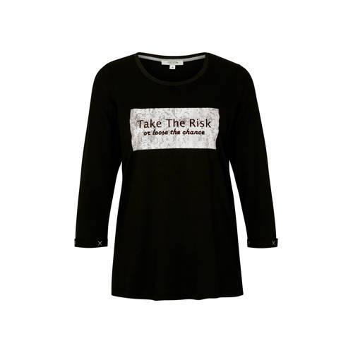 comma casual identity T-shirt met printopdruk zwar