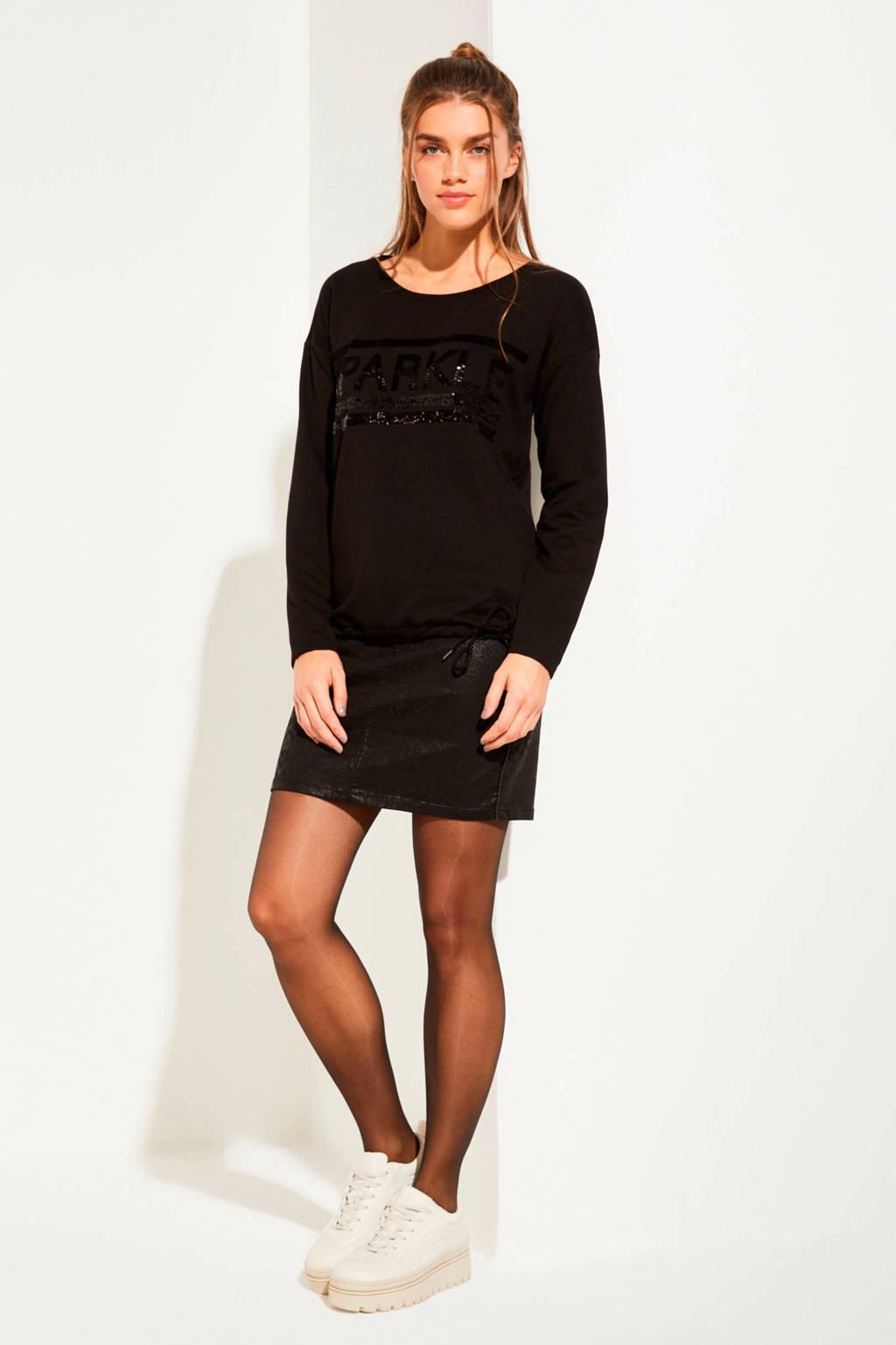 comma casual identity sweater met printopdruk en pailletten zwart, Zwart