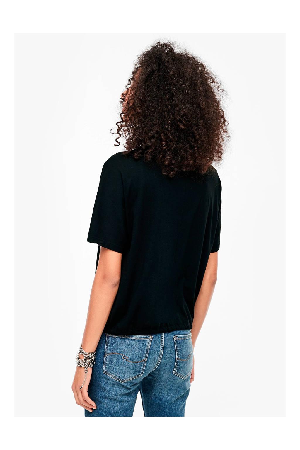 Q/S designed by T-shirt met pailletten zwart, Zwart