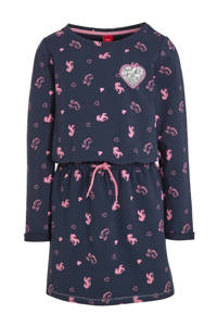 s.Oliver jersey jurk met all over print en pailletten donkerblauw/roze, Donkerblauw/roze