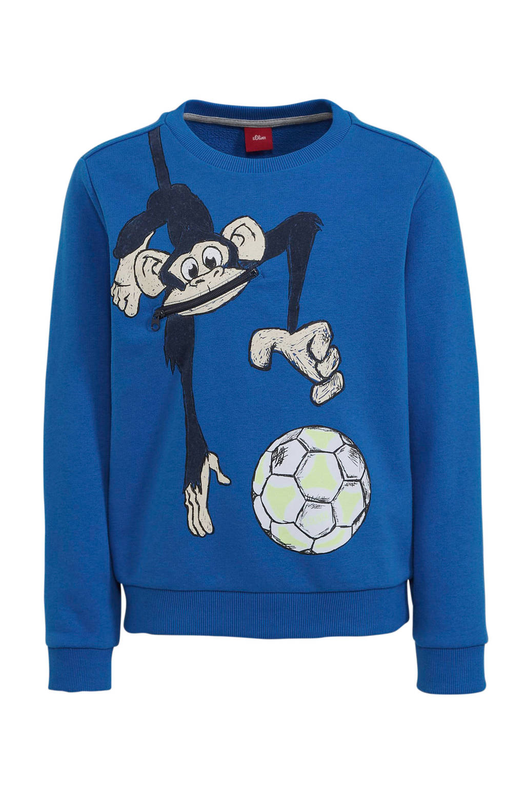 s.Oliver sweater met printopdruk blauw/donkerblauw/geel, Blauw/donkerblauw/geel