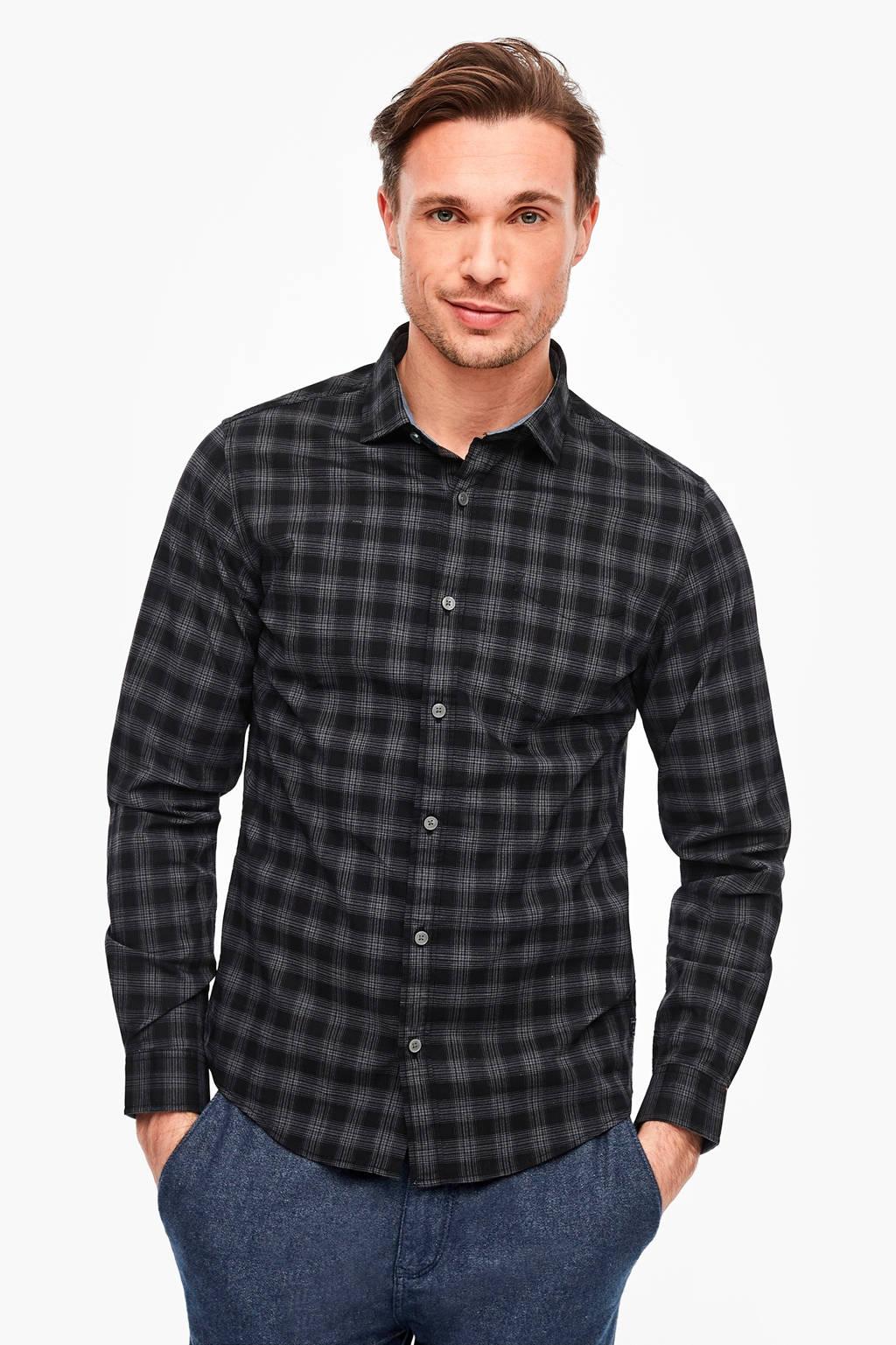 s.Oliver geruit slim fit overhemd zwart, Zwart
