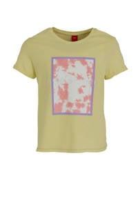 s.Oliver T-shirt met printopdruk geel/lila/roze, Geel/lila/roze