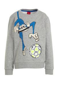 s.Oliver sweater met printopdruk grijs/blauw/geel, Grijs/blauw/geel